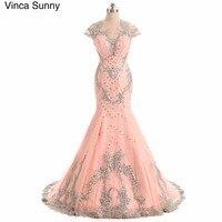 Luxury Peach Mermaid Evening Dresses Sweep Train Cap Sleeves Beading Crystal Sparkly vening party gown elegant long 2018 custom