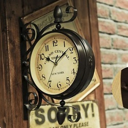 Free shipping american fashion vintage nostalgic wall decoration iron double faced side wall clock.jpg 250x250