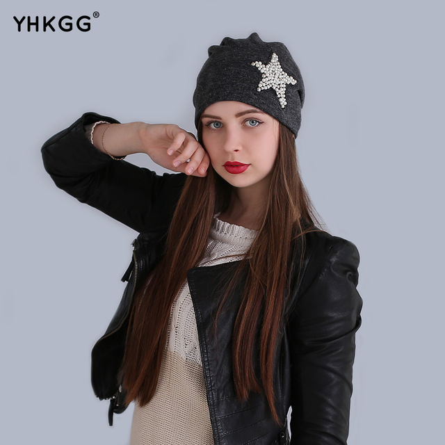 The pearls 2016 tide of fashion The pentagram ear cap lovely naughty wool hat the latest fashion, warm and beautiful