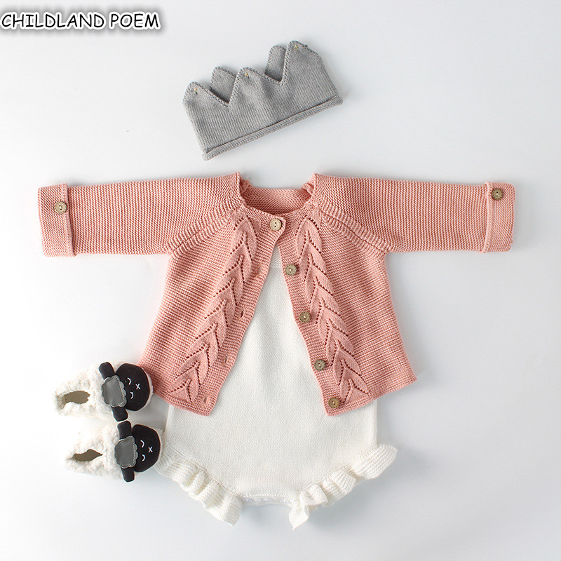 b5629d1d01a1 Baby Girls Clothes Autumn Baby knitted Romper Set Infant Newborn Baby Girl  Cardigan Boys Sweater Cotton