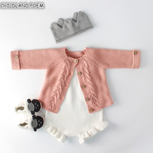Baby Girls Clothes Autumn Baby knitted Romper Set Infant Newborn Baby Girl Cardigan Boys Sweater Cotton Baby Jumpsuit For Girls cheap Rompers Single Breasted CHILDLAND POEM Full Wool Cotton Unisex Fits true to size take your normal size O-Neck Solid accept Wholesale