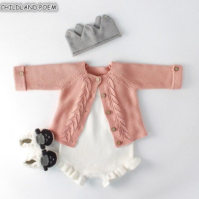 01541bc4c Bebé Niñas Ropa otoño bebé punto Romper conjunto bebé recién nacido niña  Cardigan niños suéter algodón
