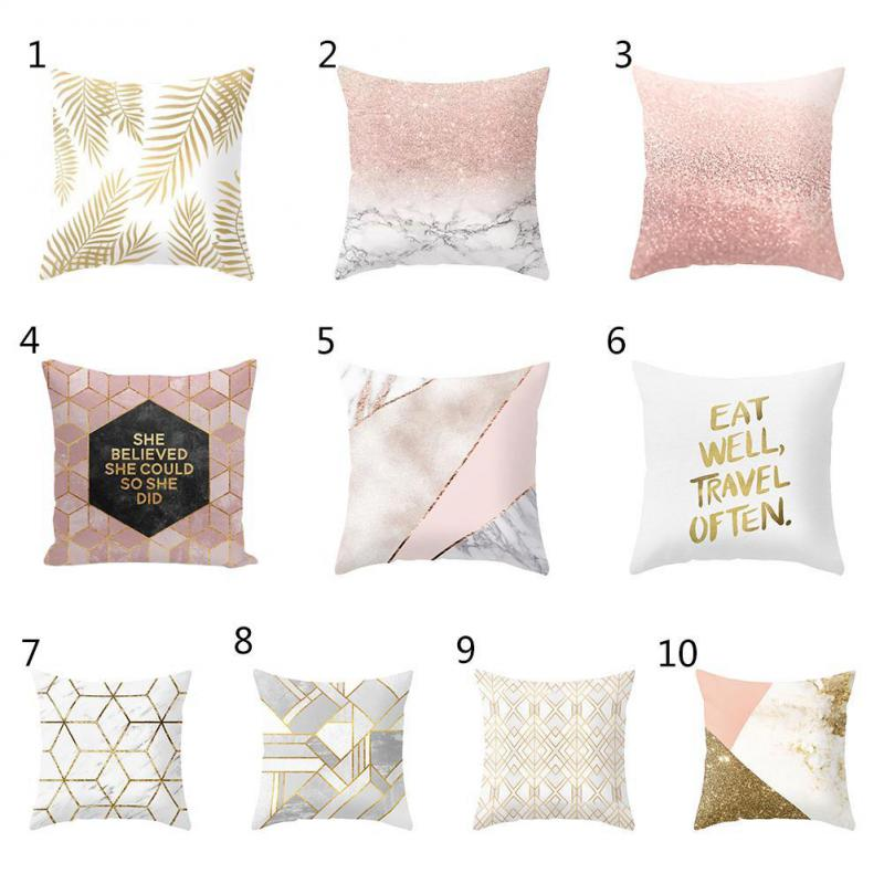 Modern Minimalist Gold Leaf Cushion Creative Marble Geometric Rhombus Pattern Decorative Nordic Ins Office Chair Back Pillow