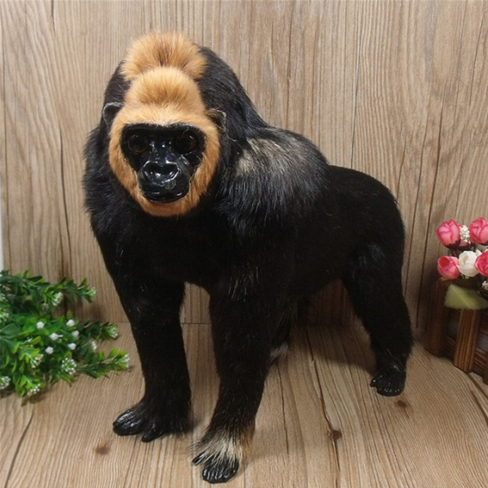 Simulation Animal Orangutan Plush Toy Doll Realistic Handmade Plastic& Fur Monkey Model Gifts for Children 29x15x28cm plush animals black footed ferret doll stuffed children s toys simulation animal dolls rare gifts