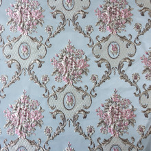 Luxurious Jacquard Woven Light Blue Khaki Damask Emboss Flower Garments Sofa Curtain Upholstery Fabric 280cm width sell by meter