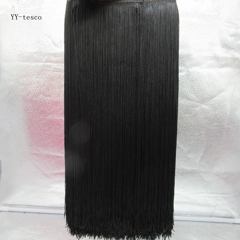 YY-tesco 1 Yards/lot 100CM Long Fringe Trim Tassel Lace Black Fringe Trimming Lace For Diy Latin Dress Stage Clothes Accessories
