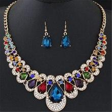 купить ECODAY Luxury Brand Bridal Wedding Jewelry Sets Crystal Earrings Necklace Set for Women Costume Jewelry Wedding Necklace Bijoux по цене 197.33 рублей