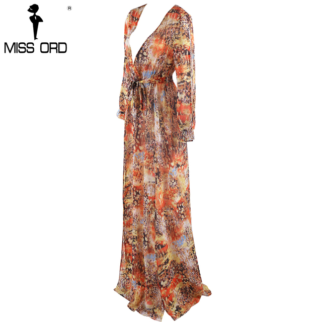Missord  2017  Sexy Deep-V Long Sleeve two  split belt mutli color  dress maxi beach dress FT8147
