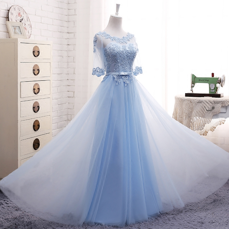 Light Blue Bridesmaid Dresses Long Embrodery Lace Half Sleeve Prom  Graduation Dresses Elegant Brides Gown With Sleeves-in Bridesmaid Dresses  from Weddings ... 12a0b703ead0