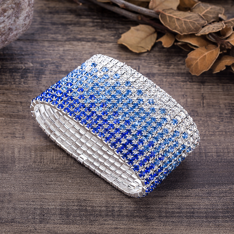 12 Rows Crystal Rhinestone Bangles Bracelet for Women Silver Plated Blue and Clear Crystal Combination Wedding Bracelet (1)