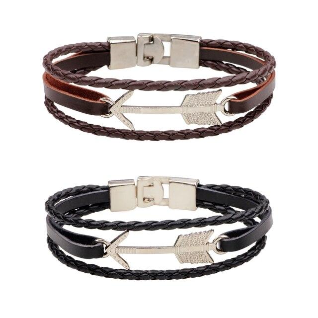 Black Brown Weaved Leather Bracelets For Men Arrow Charm Mens
