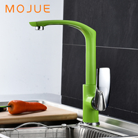 MOJUE Kitchen Faucet Brass Mixer Cold And Hot Water Sink Tap Multi Color Single Hole Cocina