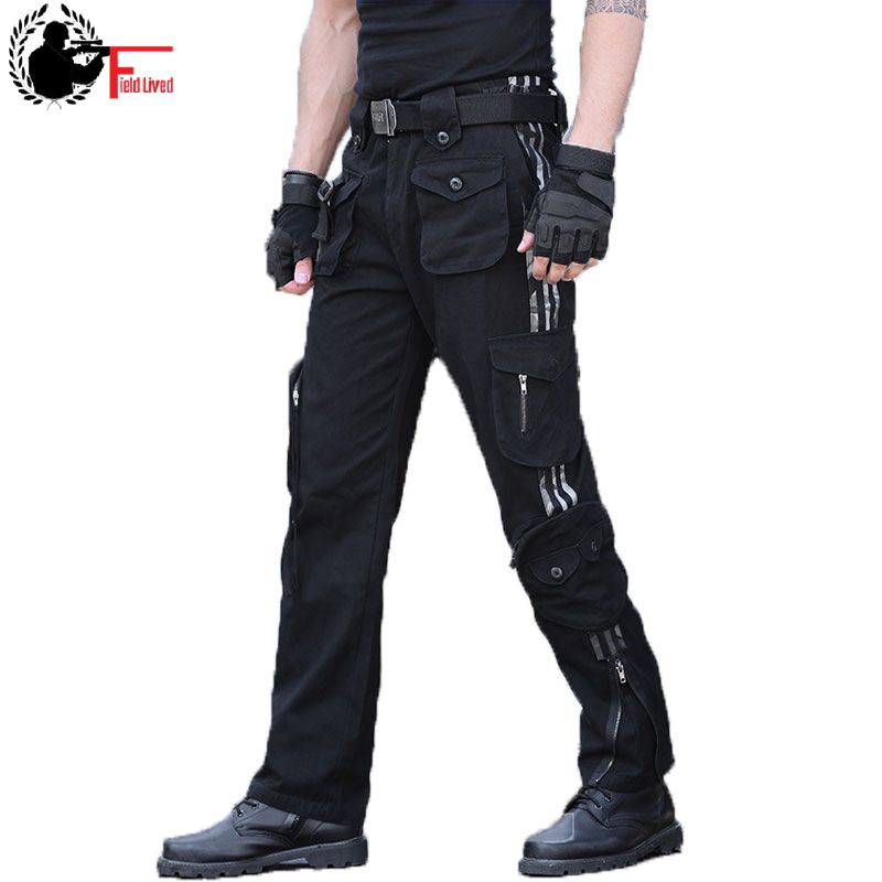 Cargo Pants Men Camo Many Pocket Knee Zipper Straight Trousers Loose Fit Army Style Camouflage Jogger Male Black Tactical Cotton