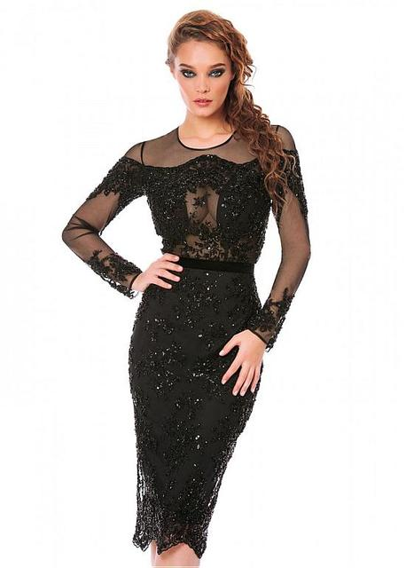 d518efd8a7 2016 Sexy Black Knee Length Straight Cocktail Dresses Sheer Long Sleeves  Illusion Neck Lace Appliques Short Formal Party Dresses