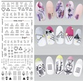 DS306 New Design Water Transfer Nails Art Sticker Harajuku Elements Line Figures Nail Wraps Sticker Tips Manicura nail Decal