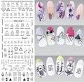 DS306 Nuevo Diseño de Uñas de Arte de Transferencia de Agua Etiqueta Harajuku Elementos Línea Figuras Nail Sticker Wraps Consejos Manicura de uñas Calcomanía