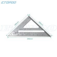 """1 шт. """" /180 мм 45 градусов треугольная линейка, измерительный инструмент из алюминиевого сплава квадратная угловая линейка; Деревообработка"""