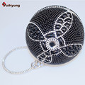 Factory Price New Women Hand-beaded Handbag Fashion Pearl Round Ball Diamond Evening Bag Party Tote Clutch Chain Shoulder Bag