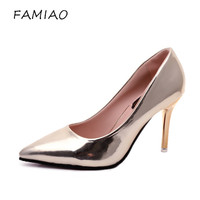 Hot 2017 Spring Autumn Women Pumps Sexy Gold Silver High Heels Shoes Fashion Pointed Toe Wedding