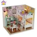 Casa de Muñeca de Diy miniatura M020 3D dormitorio bebé Rompecabezas De Madera Casa de Muñecas miniaturas Muebles luces cubierta de Polvo