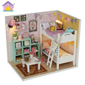 M020 Doll House Diy miniature 3D baby bedroom Wooden Puzzle Dollhouse miniaturas Furniture lights Dust cover