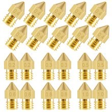 22pcs 3D Printer Nozzles MK8 Extruder Nozzle Print Head 1.75mm for Anet A8 Makerbot Creality CR-10 Ender