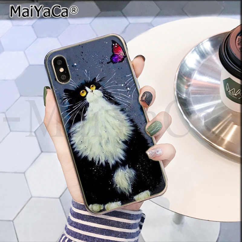 MaiYaCa Arte do gato preto e branco Mais Novo Super Bonito Casos de Telefone para o iPhone Da Apple 8 7 6 6S mais X XS max 5 5S SE XR Cobertura Móvel