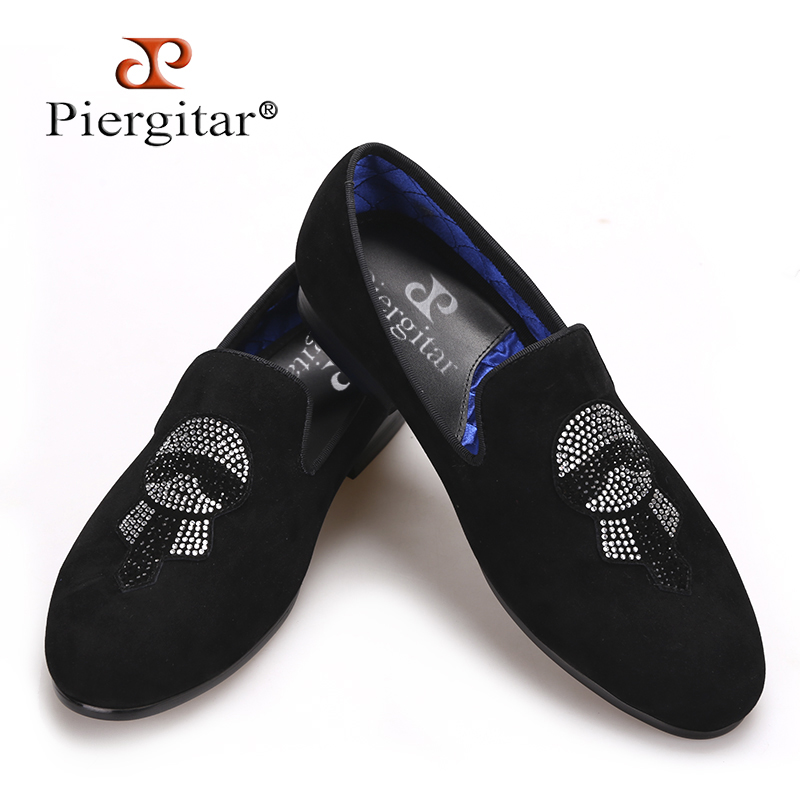 Piergitar New Handmade Men Velvet shoes with Lagerfeld Rhinestones Fashion Party and Prom Men Loafers Big size smoking slippers piergitar 2017 new handmade men loafers with tie design fashion prom and banquest men smoking slippers plus size male flats
