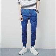 2015 jeans men Straight biker jeans men mid waist solid denim long trousers slim business casual