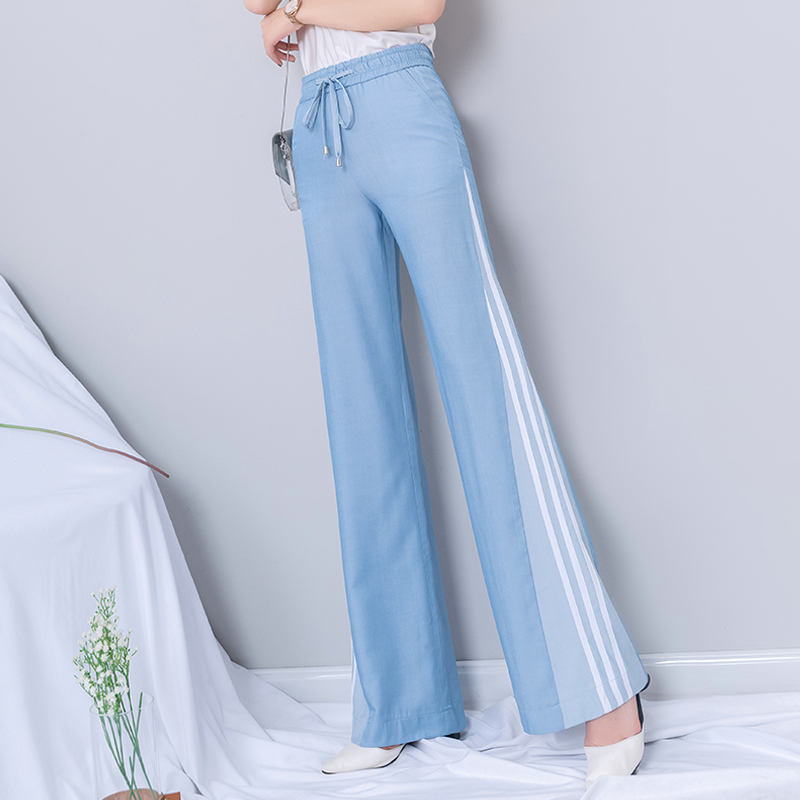 Summer   Wide     Leg     Pants   Women 2019 Blue High Waist Striped Lace Up Trousers Full Length Patchwork   Pants   Plus Size Women Clothing