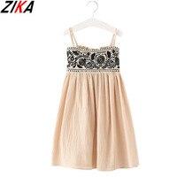 ZIKA Girls Dress 2017 Brand Princess Dress Bohemian Style Soild Linen Soft Dresses For Girls Summer