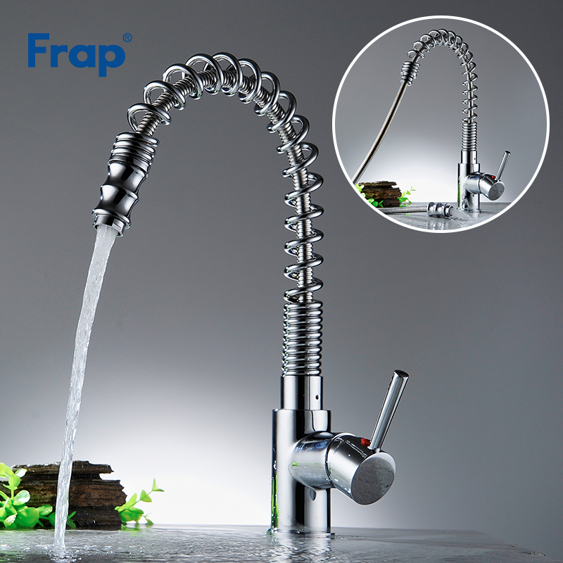 Frap Kitchen Faucet Brass Deck Mounted Pull-down Swivel Spray Faucets Cold & Hot Water Single Handle Mixer Tap Crane Y40065 kitchen faucets spring pull down silver taps led light pre rinse spray crane deck mounted hot and cold mixer tap tap yc cl3013