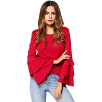 Layered Flare Sleeve Solid Spring Casual 2018 Women Tops Long Sleeve Round Neck Slim Street Wear