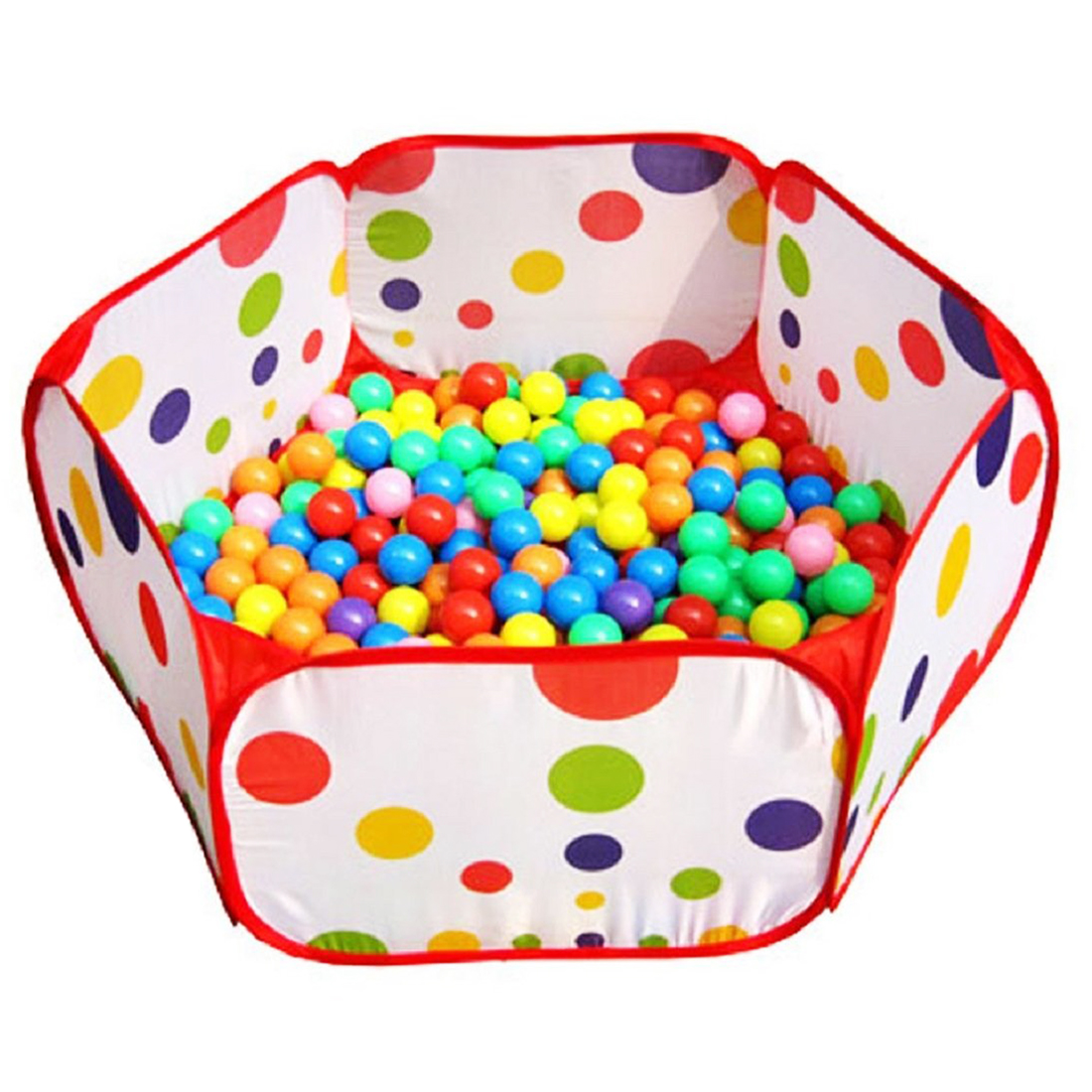 Wholesale!Pop up Hexagon Polka Dot Kids Ball Play Pool Tent Carry Tote Toy +50 Balls