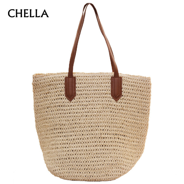 Women Beach Bag Straw Handbags Capacity Bohemian Summer Travel Tote Per Purses Vacation Ping