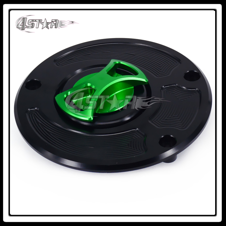 Motorcycle Billet CNC Green Black Gas Fuel Tank Cap Cover For ZX10R ZX6R ZX14 Z1000 Ninja 1000 650R ER6N Versys Concours Z750 high quality motorcycle parts aluminum alloy gas fuel petrol tank cap cover fuel cap for honda cbr 929 954 rc51 all years