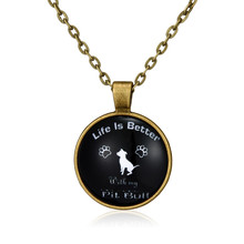 """Necklace Silver Jewelry """"Life is better with my Pit Bull"""" Word Necklace Pitbull Dog Pendant"""