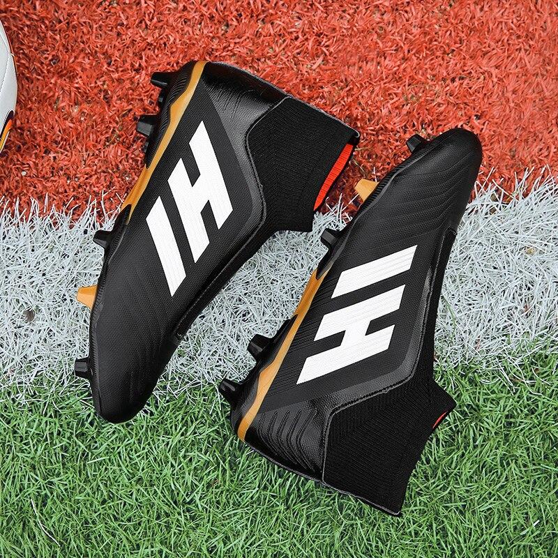 Hommes chaussures de Football crampons de Football bottes longues pointes TF pointes cheville haut baskets femmes chaussures de Football Futsal enfants - 4