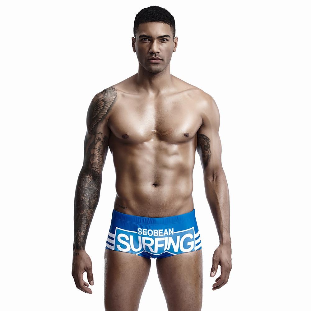Seobean Swimsuit Men Swimming Trunks Sexy Gay Swimwear Quick Dry Bathing Swim Shorts Men Beach Board Shorts Sunga Plus Size(China)