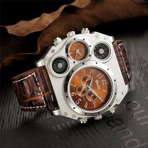 Image 4 - Oulm スポーツスーパービッグスタイルクォーツ時計男性デュアルタイムゾーン装飾温度計コンパス PU 男性の腕時計