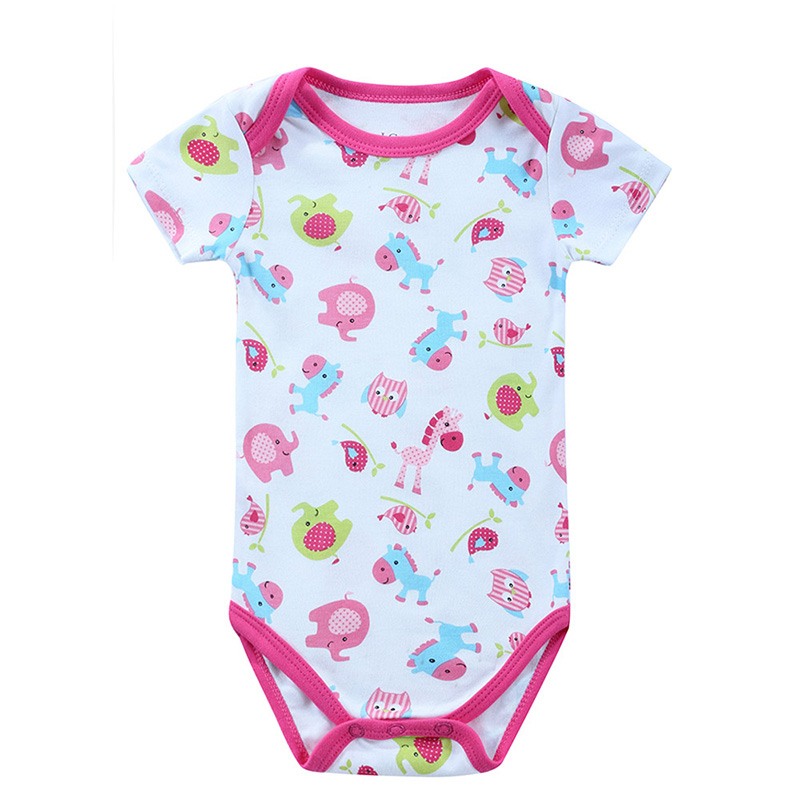 1 Pieces Fashion Newborn Baby Rompers Summer Infant Girl Newborn Baby Clothing Animal Print Cotton Short Sleeve Rompers Cloth mother nest 3sets lot wholesale autumn toddle girl long sleeve baby clothing one piece boys baby pajamas infant clothes rompers