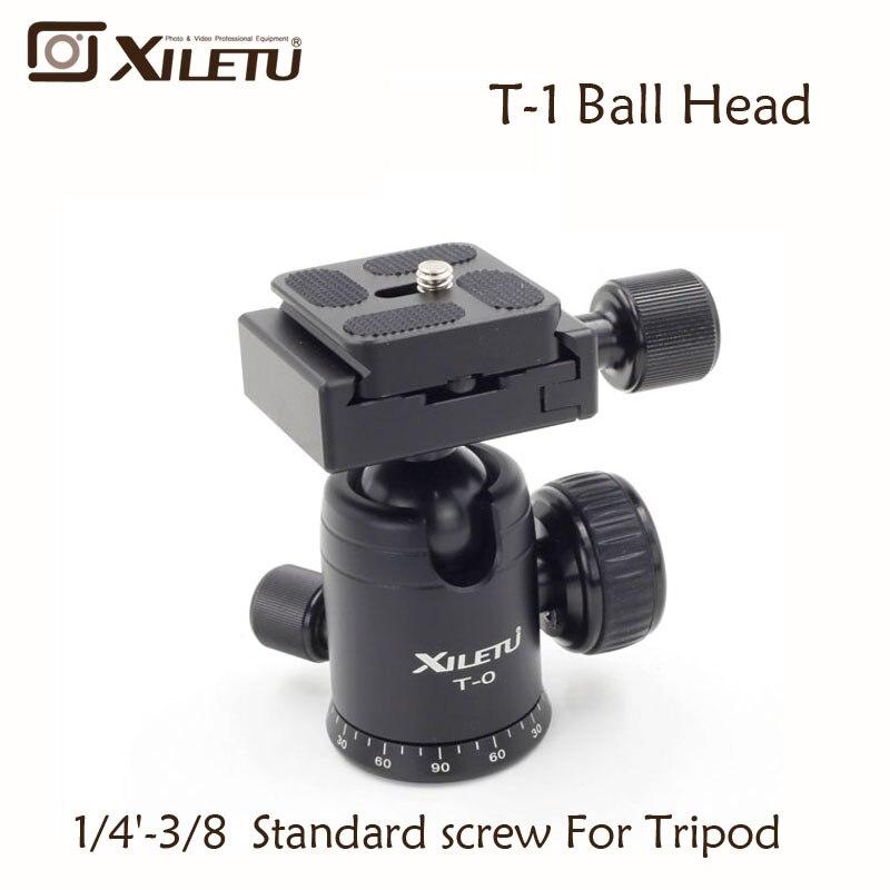 Xiletu T-0 Portátil de Alumínio Tripé Prato de Liberação Rápida Pro Camera Tripod Bola Cabeça Ballhead