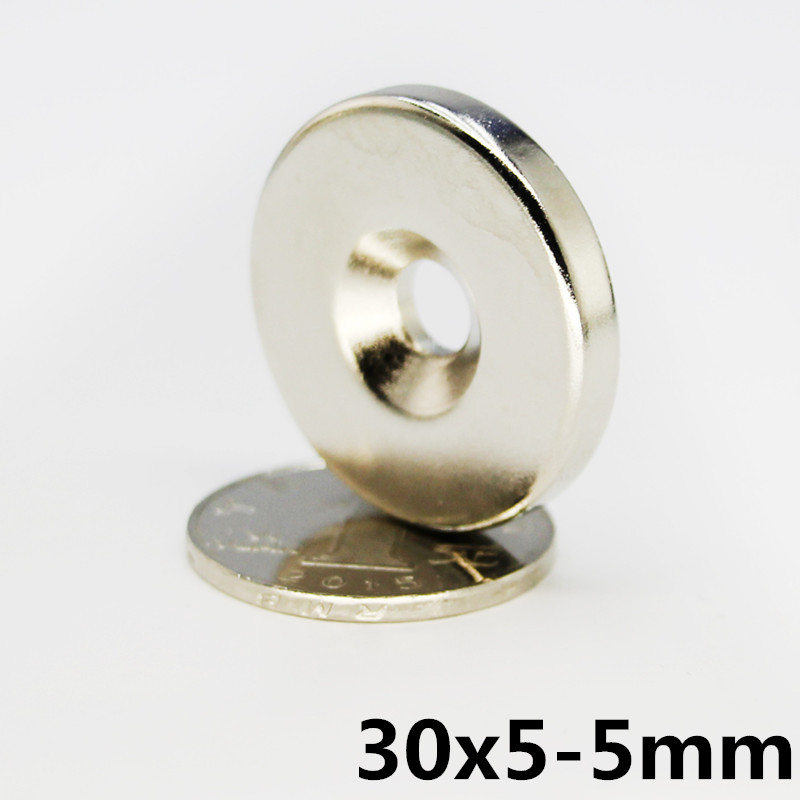 <font><b>5</b></font> Pcs <font><b>30</b></font> x <font><b>5</b></font> mm Hole <font><b>5</b></font> mm Super Strong Ring Loop Countersunk Magnet Rare Earth Neo Neodymium Magnets Cylinder 5mm image