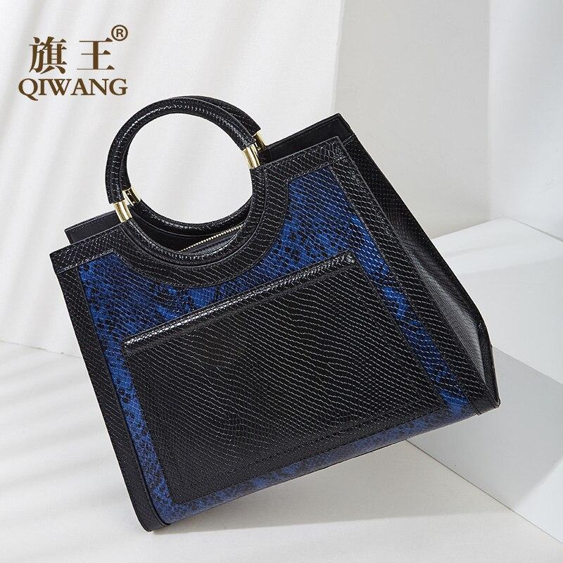 Qiwang Blue Tote Bags Handbag Women Genuine Leather Bag Snake Cow Leather Hand bag Vintage Round Handle Fashion Tote bag 2018 women bag 2017 dermis genuine leather new cute little round cow leather handbag worn mini bag
