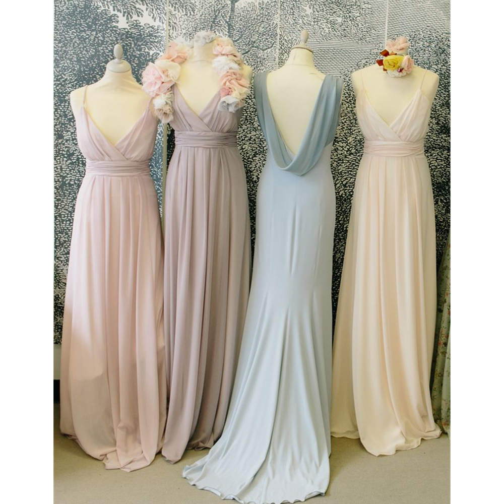 High Quality Chiffon   Bridesmaid     Dress   A Line Floor Length Sweetheart Spaghetti Strap Long Maid Of Honor Gowns Cheap Party   Dress