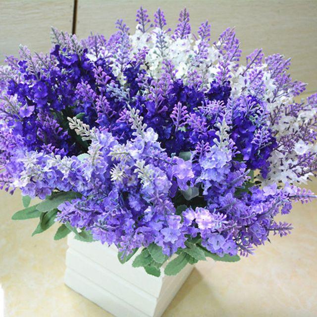 1 bunch Silk flower wedding bouquet Lavender Artificial flowers ...