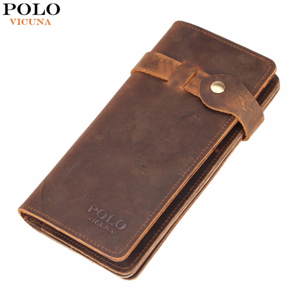 VICUNA POLO Brand Genuine Leather Men Wallet Clasp Open Crazy Horse Leather Slim Long Wallet With Zipper Pocket billeteras mujer polo awen al billeteras fd0925
