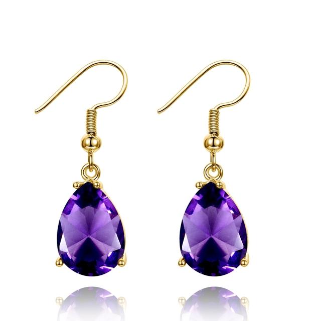 Golden Color Hotsale Gemstone Drop Earrings Amethyst Garnet Peridot Sapphire Earrings For Women 925 Sterling Silver Fine Jewelry