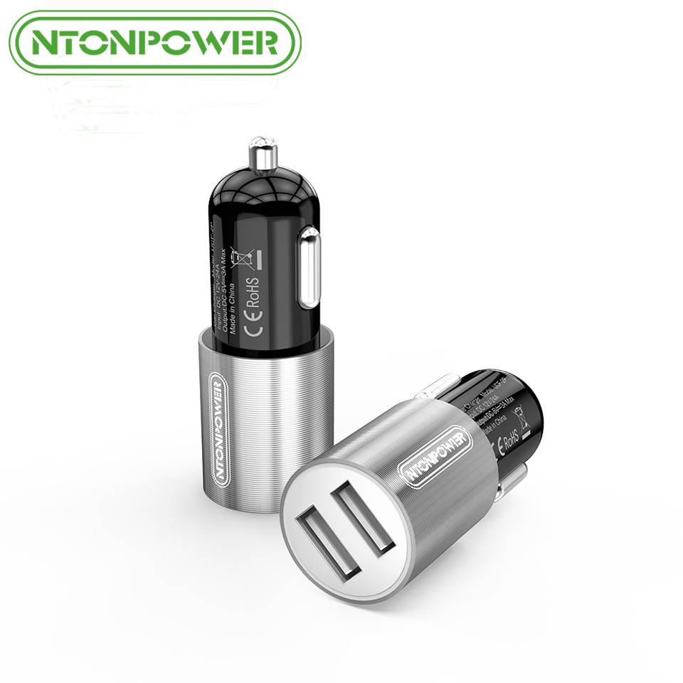 NTONPOWER 1Pcs Dual Port USB Car Charger DC12V 24V 5V 2.4A 15W Fast Smart Car Charger for iPhone 7 6s iPad Samsung HTC Xiaomi