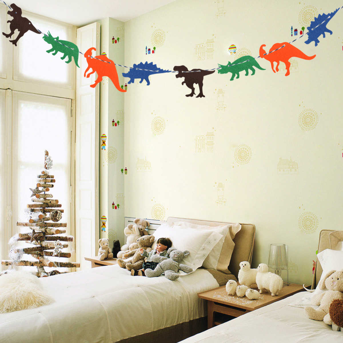 Non-Woven Dinosaur Hanging Flag Dinosaur Happy Birthday Garland Banner Baby Shower Birthday party Room Decoration Supplies